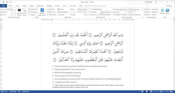 Tampilan Quran in Word 3.0