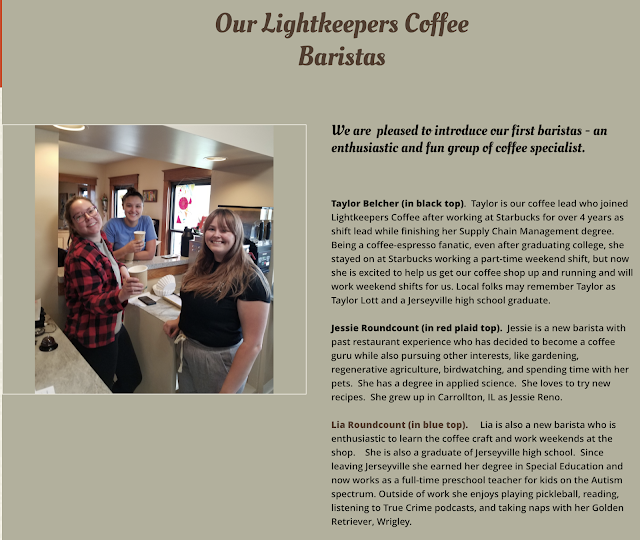 color photo of the baristas at Grafton Illinois coffee antiques shop Lightkeepers Coffee 101 E Main St Sears Vallonia