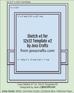 Card Sketch 1 for 12x12 Paper Cutting Template #2 by Jess Crafts