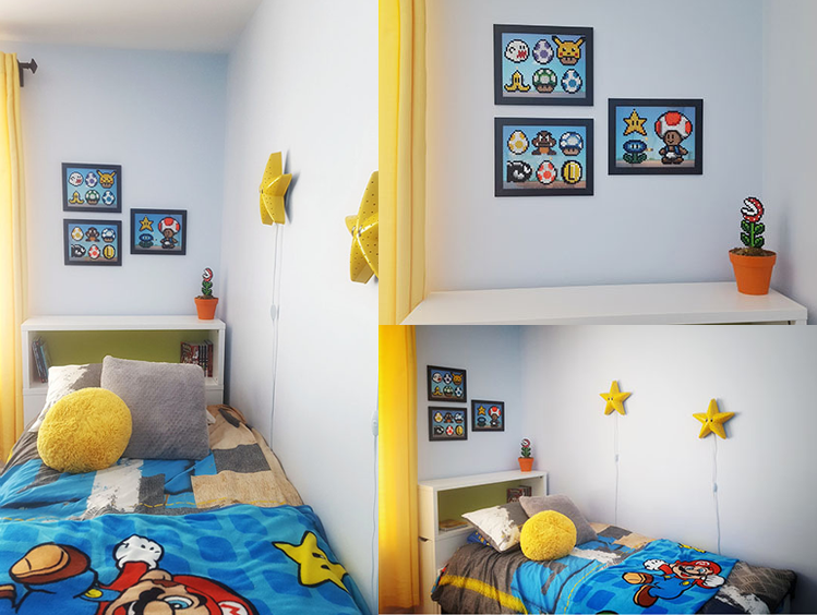 Super mario bros perler beads boy s room. How to decorate a boy s room using his Perler beads crafts