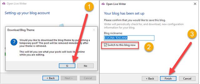 completamento della configurazione di blogger
