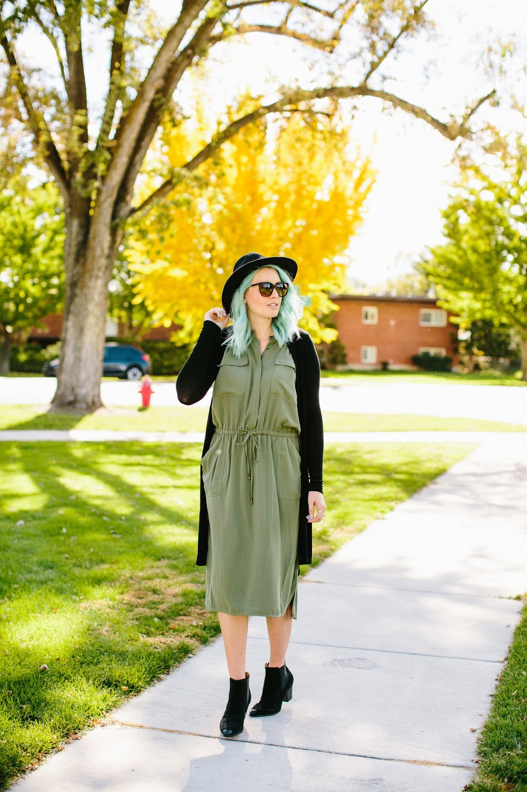 Olive Dress, Fall outfit, tall girl style