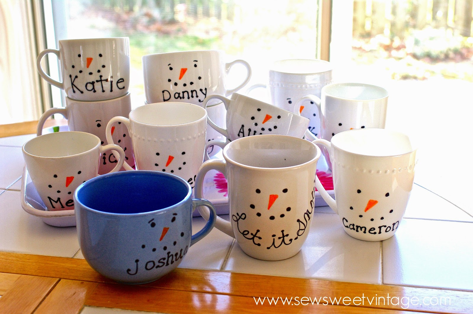 Sew Sweet Vintage: sharpie snowman mug