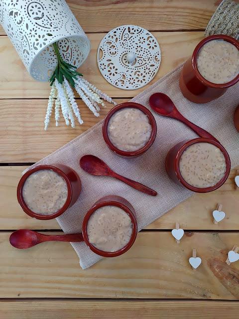 Arroz con bebida vegetal de nuez y chocolate blanco en Monsieur Cuisine Lidl, postre de verano, tradicional, versión, vanguardia, sin horno, sencillo, fácil Cuca