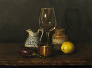Still life oil painting of a small eggplant, a white ceramic jug, a small copper pot, a wine glass, an earthenware jar and a lemon.