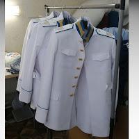 Пошив Кадетский костюм парадный для кадетов Россия белый тк габардин воротник стойка с галуном отделка цвет голубой