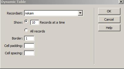 Dynamic Table dengan recordset