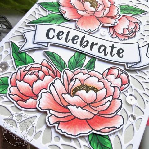 Sunny Studio Stamps: Pink Peonies Banner Basics Blooming Frame Dies Frilly Frame Dies Phoebe Alphabet Dies Everyday Card by Lynn Put