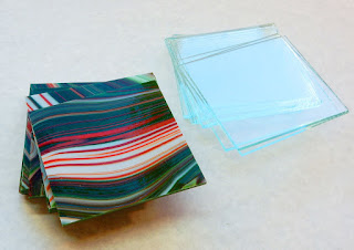 "4"" squares of Fusers Reserve green/red/white and clear"