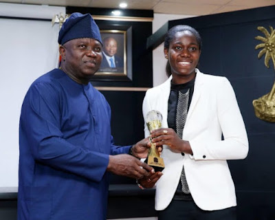 Ambode hosts Asisat Oshoala at Lagos House