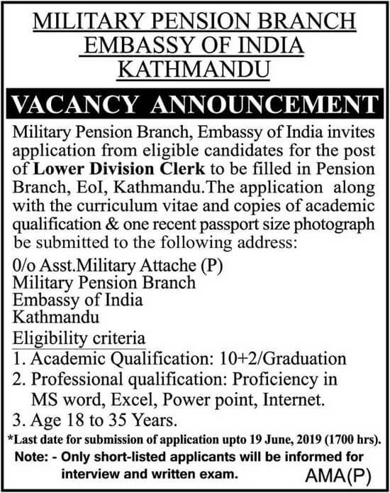 Vacancy Announcement from Embassy of India, Kathmandu.