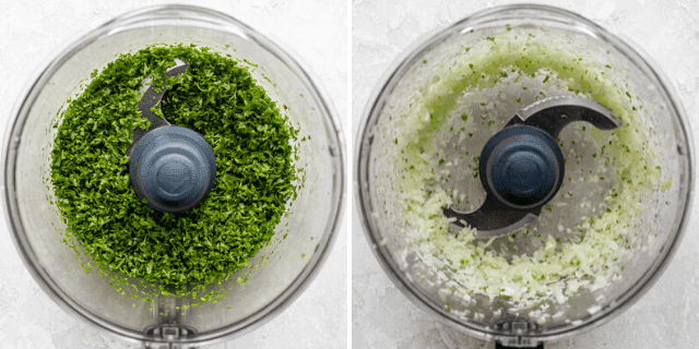 Parsley and onions in the food processor