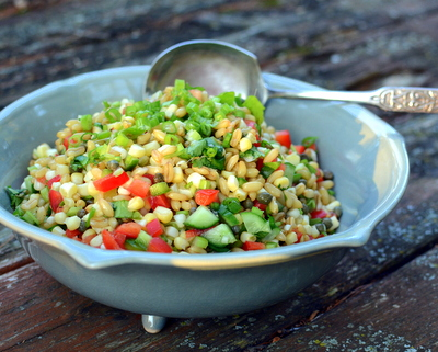 Kamut Salad, another versatile, vegan salad ♥ A Veggie Venture, just the nutty grain called kamut plus seasonal vegetables. Weight Watchers Friendly. Low Fat. Great for Meal Prep. Vegan.