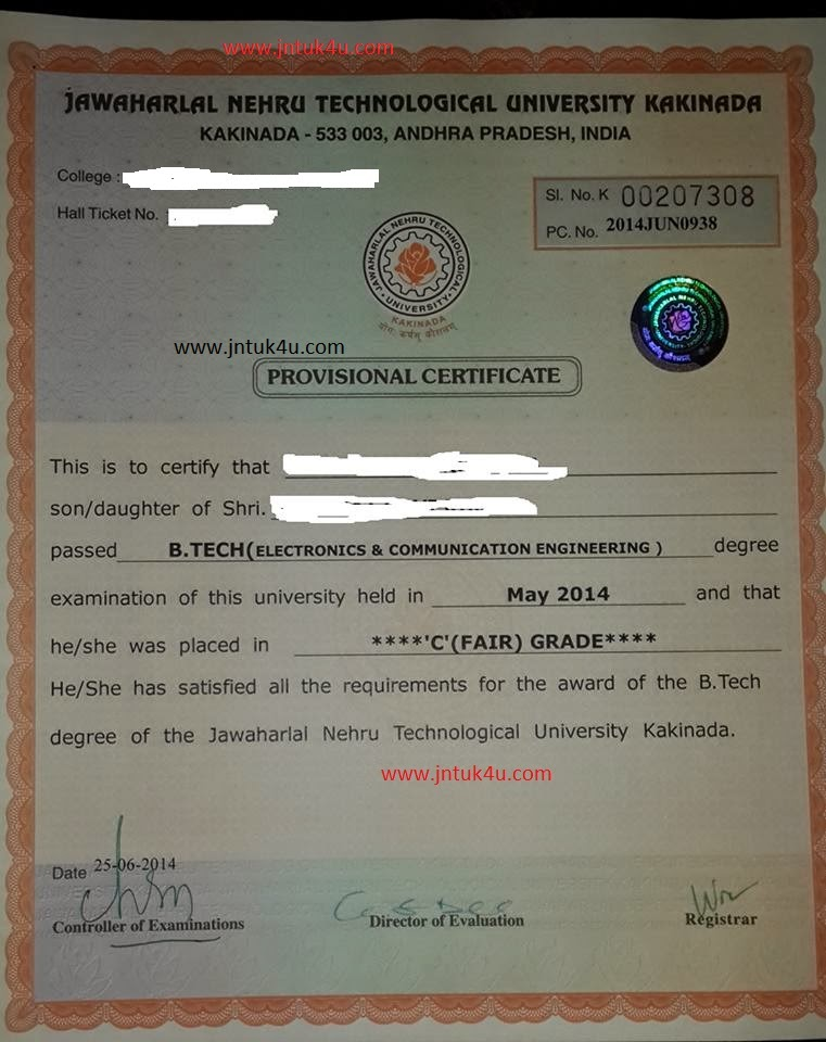 JNTUK Procedure For Applying Provisional Certificate (PC) & CMM through Online