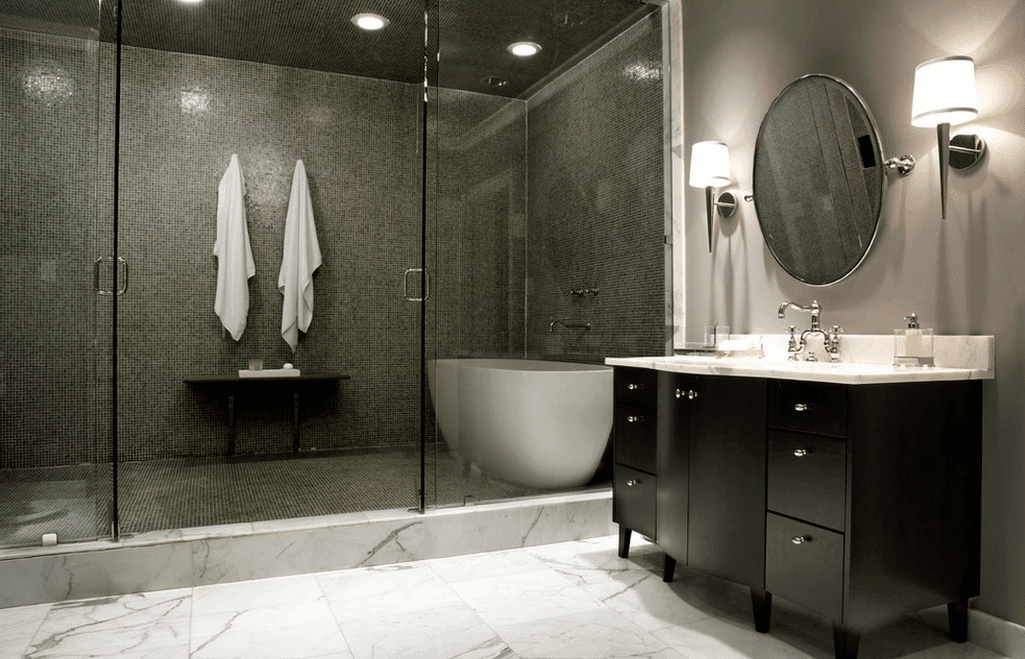 Marble Floors With Colored Shower ! Home Decor
