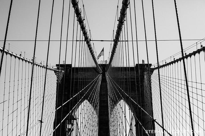 black and white photo of Brooklyn Bridge