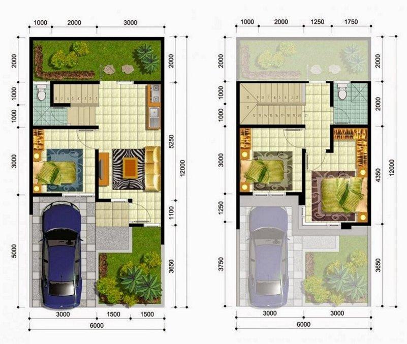 denah rumah minimalis 6x11 2 lantai yg minimalis
