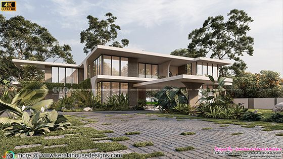 Tropical contemporary style front elevation rendering