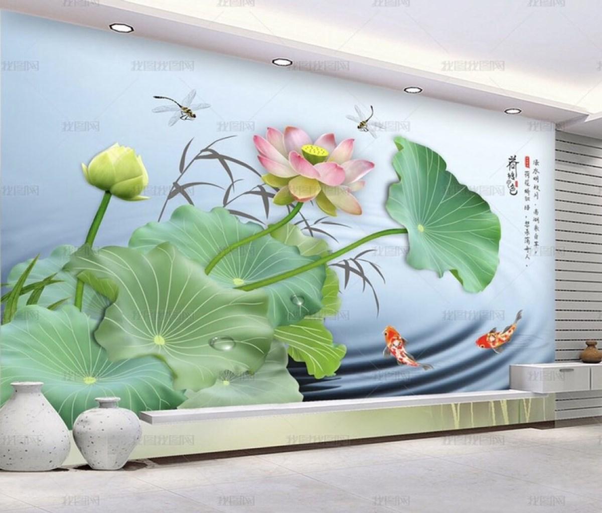Tranh Dán Tường 3D Hoa Sen Trang trí Phòng Khách Đẹp