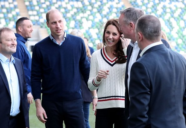 Kate Middleton wore Ralph Lauren cable-knit cricket sweater, accessorised Kiki McDonough Lauren earrings