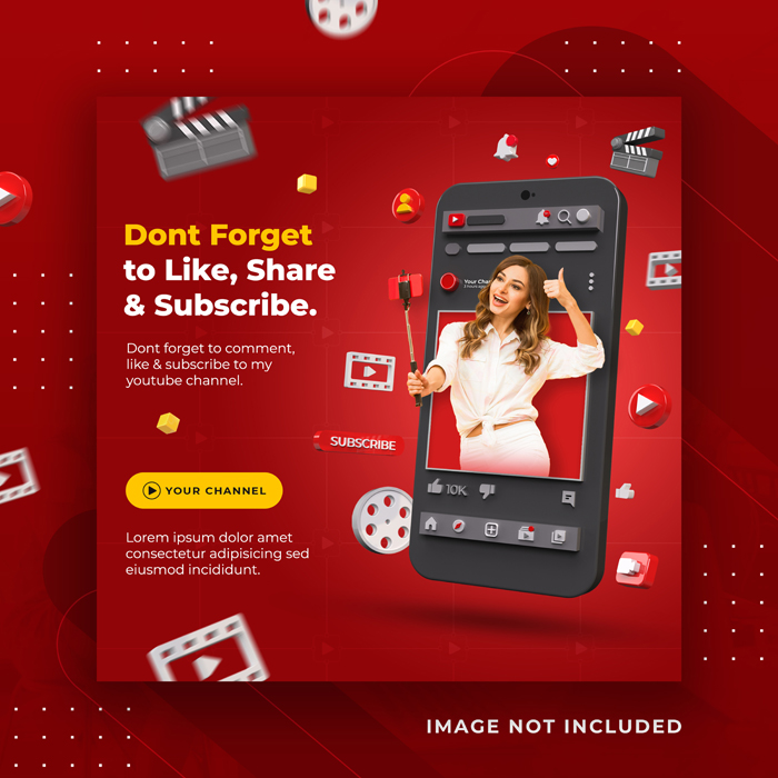 Creative Concept Social Media Youtube Channel Promotion Instagram Post Template