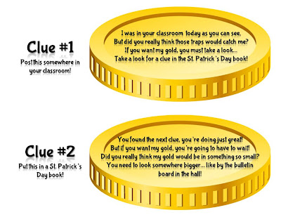 These editable clues are sure to make St. Patrick's Day a hit in your classroom! Go on a leprechaun hunt in your classroom and use these clues to travel around the school to find the leprechaun's pot of gold! So much fun!