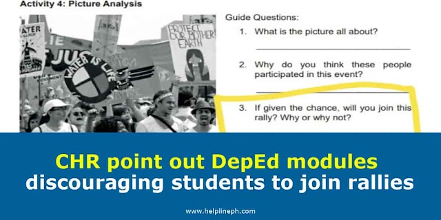CHR point out DepEd modules discouraging students to join rallies