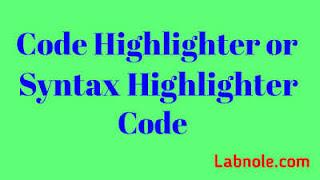 Code Highlight Code syntax highlighting