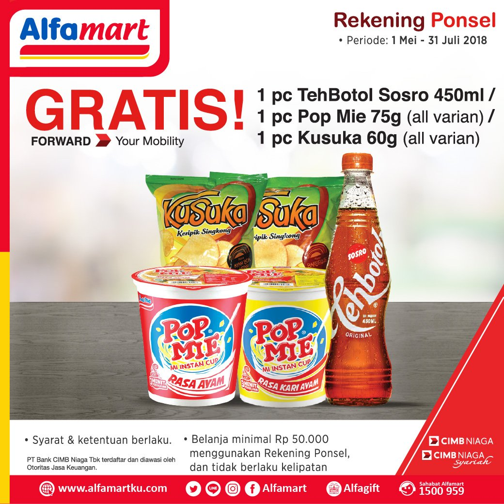 Bank CIMB - Pakai Rekening Ponsel di Alfamart GRATIS Produk (s.d 31 Juli 2018)