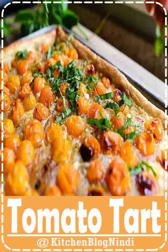 4.9★★★★★ | This scrumptious tomato tart is the perfect light summer meal! #Vegan #Tomato Tart