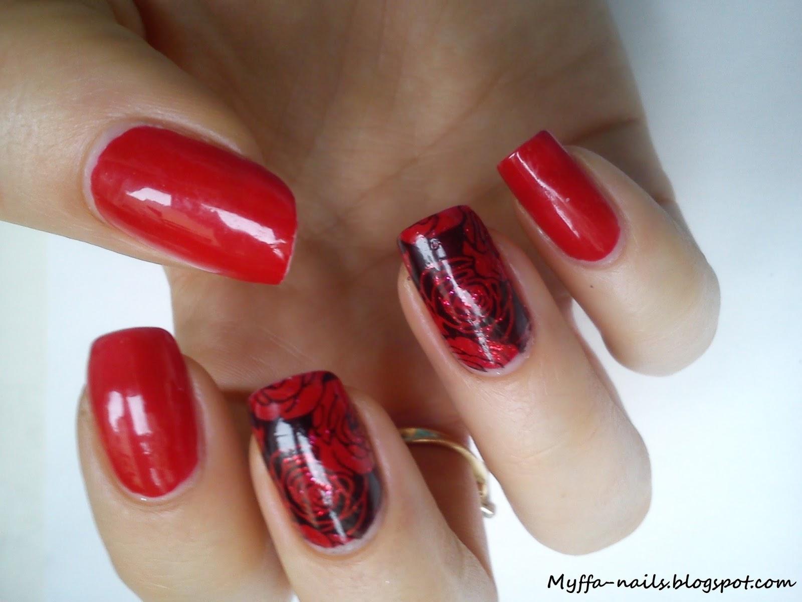 Myffa Nails Czerwono Czarne Roze