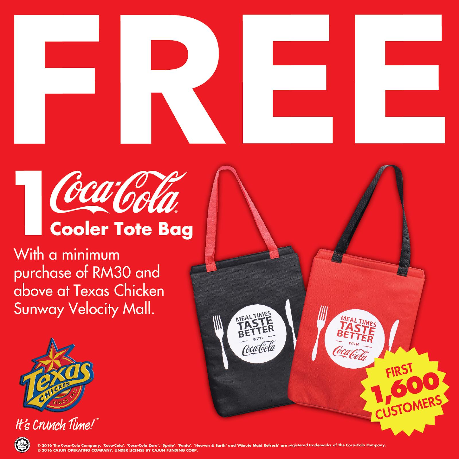 Promo Codes Texas En Free Coca Cola Cooler Tote Bag Minimum Purchase Rm30