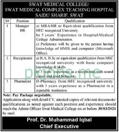 Latest Swat Medical College Management Posts 2021