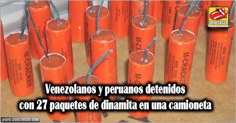 Venezolanos y peruanos detenidos con 27 paquetes de dinamita en una camioneta