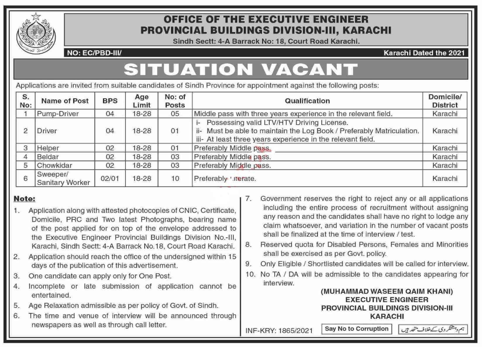 Provincial Buildings Division Management Posts Karachi 2021