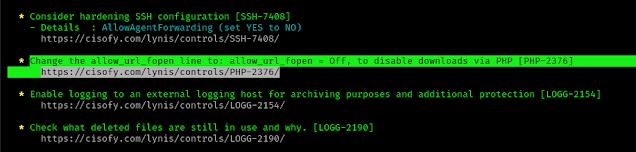 lynis found a PHP error