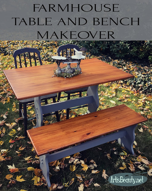 general finishes Farmhouse table and bench makeover diy before and after antique walnut gel finishs and milk paint