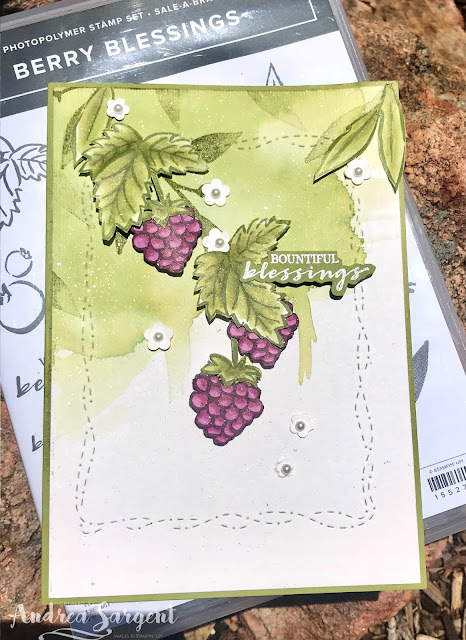 Old Olive Stitched with Whimsy Berry Blessings Stampin Up card, Andrea Sargent, Independent Stampin' Up! Demonstrator, Valley Inspirations, Adelaide foothills, Australia