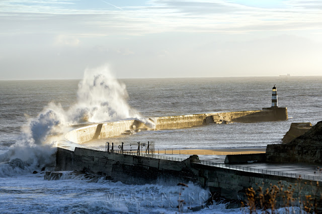 Large storm waves at Seaham harbour in the north east in County Durham