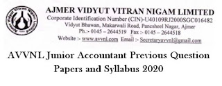 AVVNL Junior Accountant Previous Question Papers and Syllabus 2020