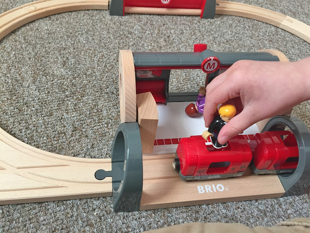 brio metro train at the metro trainset toy play set