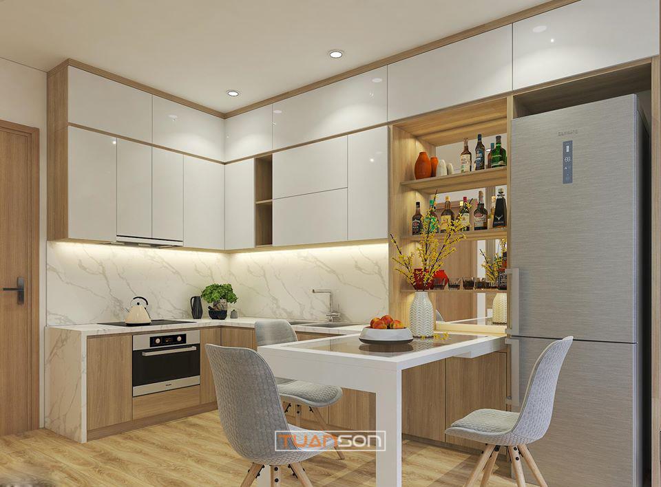 Thiết kế thi công nội thất phòng bếp căn hộ Vinhomes Smart City Tây Mỗ
