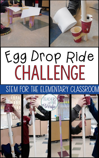 It's an Egg Drop Task! Your students are going to love this! Students will solve multiple problems as they create an amusement park ride model and they must make their passengers safe! #teachersareterrific #STEM #elementary