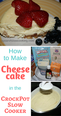 Perfectly moist cheesecake made easily in the crockpot slow cooker! This recipe uses graham cracker crumbs, heavy cream, cream cheese, and vanilla extract. Use your crockpot at a bain marie, or water bath. Step by step directions that I promise are super easy and simple!