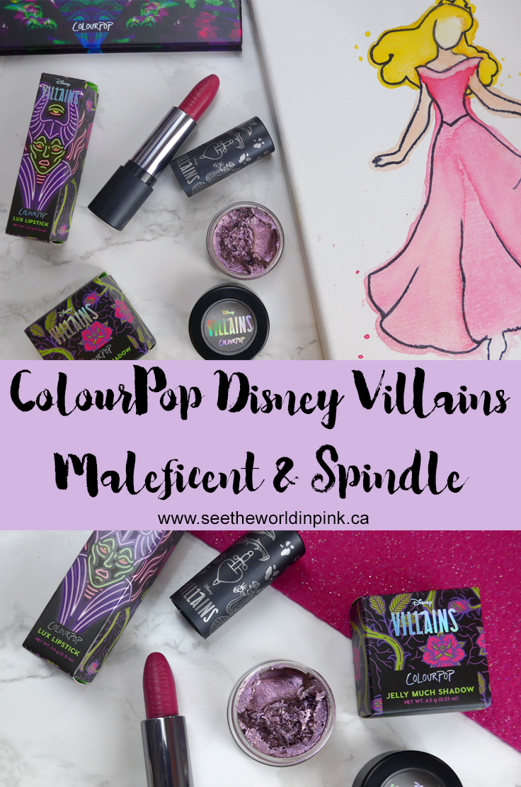 ColourPop Disney Villains - Maleficent Creme Lux Lipstick and Spindle Jelly Much Shadow