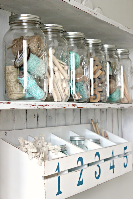 farmhouse shelf with mason jars