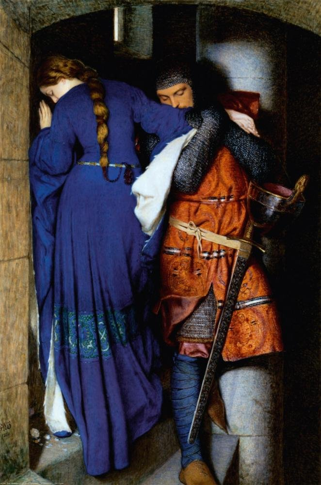 Frederic William Burton - The Meeting on Turret Stairs