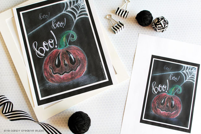 halloween art print, free halloween download, boo, hand lettering, chalk art