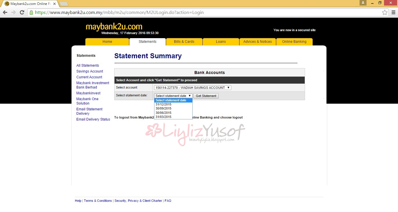 Cara Print Bank Statement Maybank2u Liyliz Yusof