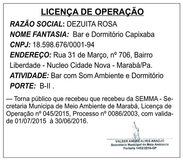 LICENÇA DE OPERAÇÃO - BAR E DORMITÓRIO CAPIXABA